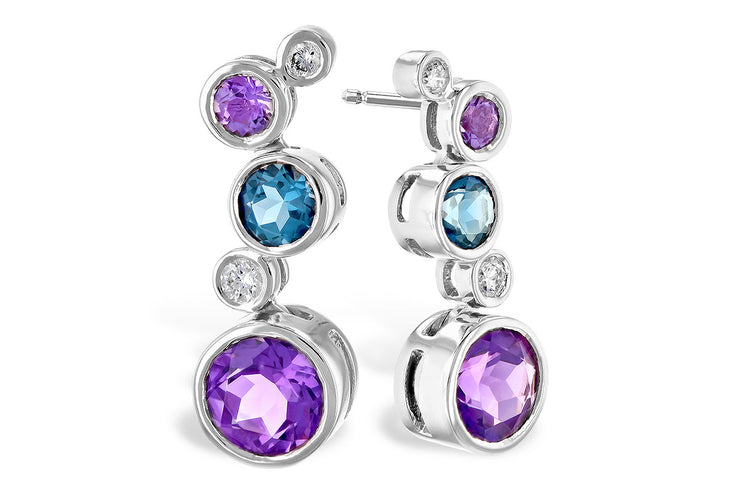London Blue Topaz and Amethyst Earrings
