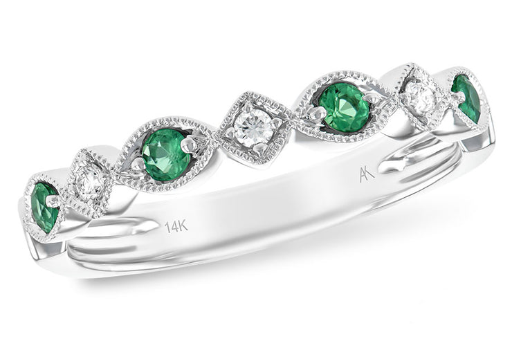 Emerald and Diamond Milgrain Band
