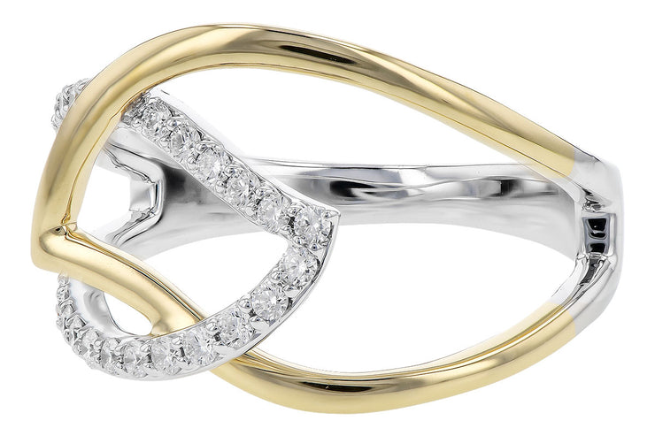 Open Diamond Leaf Ring
