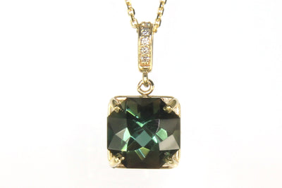 Rare Green Sunstone and Diamond Necklace