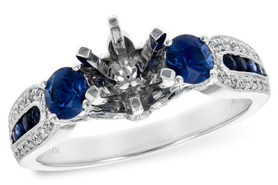 Blue Sapphire and Diamond Ring Setting