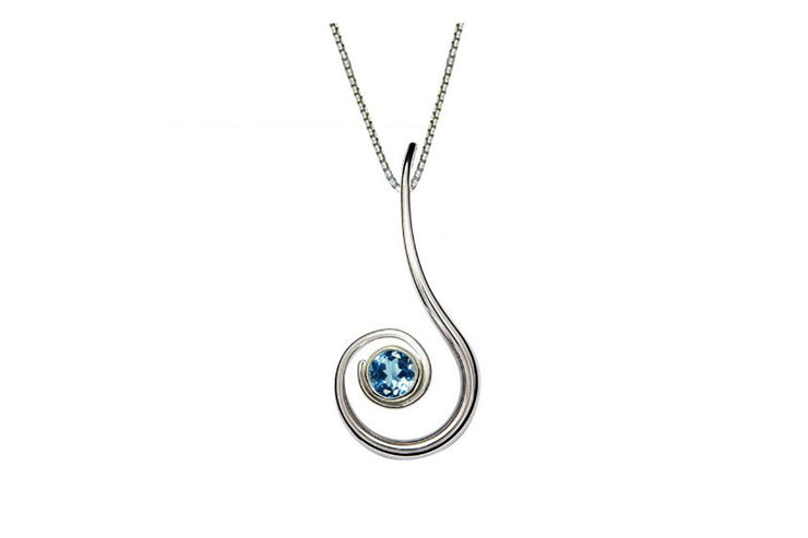 Dancing Clef Blue Topaz Necklace