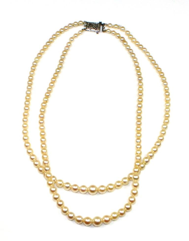 Akoya Pearl Double Strand Choker Necklace
