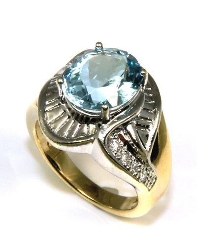 Aquamarine Wide Fashion Ring