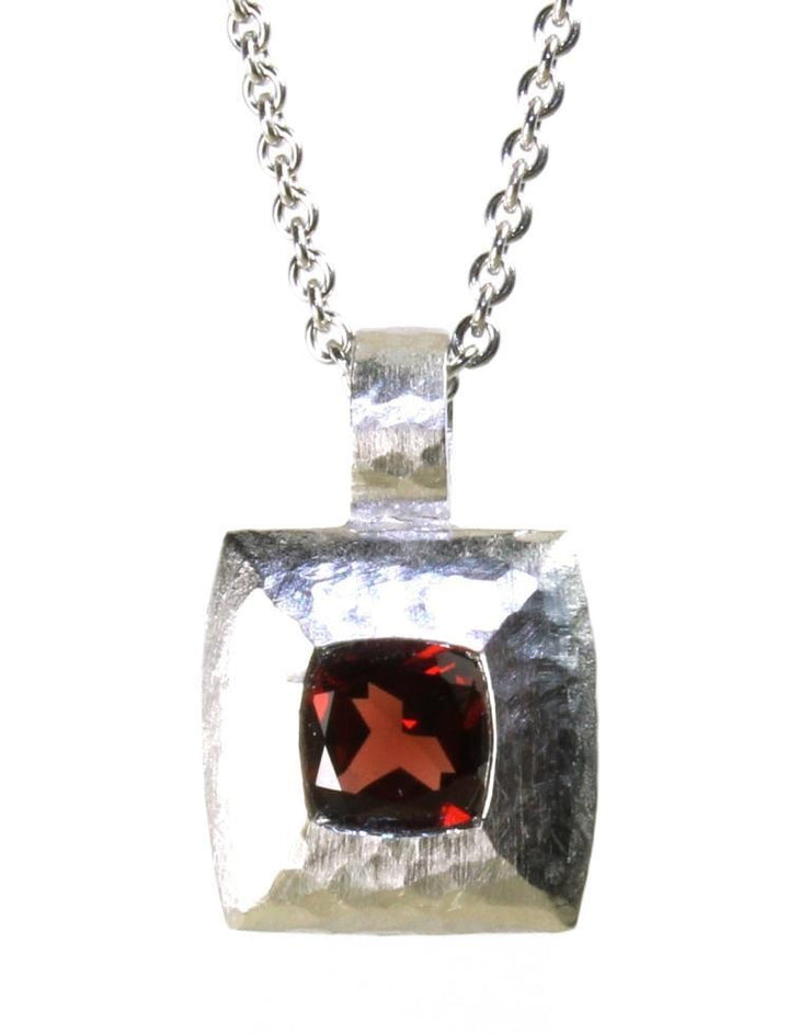 Square Garnet Hammered Necklace, 4976