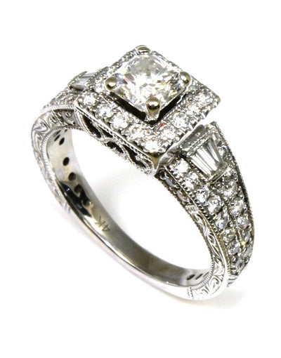 "Square Diamond Halo Detail Carved ""Neil Lane"" Ring, 5099"