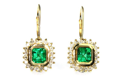Emeralds with Diamond Halo Earrings
