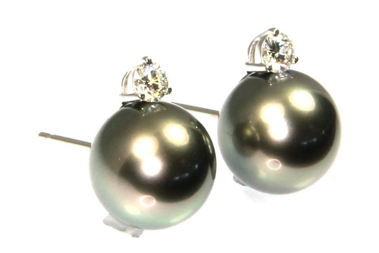 Tahitian Pearl and Diamond Stud Earrings