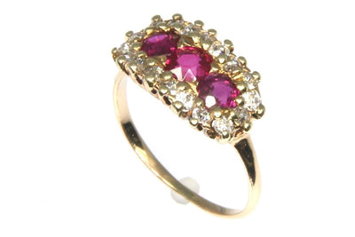 Old Mine Cut Ruby and Diamond Ring