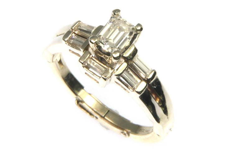 .84ctw Emerald Cut and Baguette Diamond Ring
