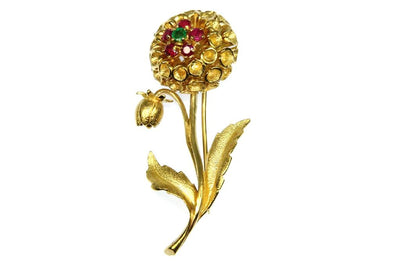 Gemstone Flower Pin