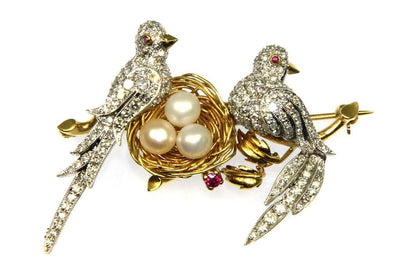 1.80ctw Diamond Two Bird Pin