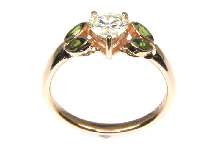 Moissanite and Tourmaline Ring