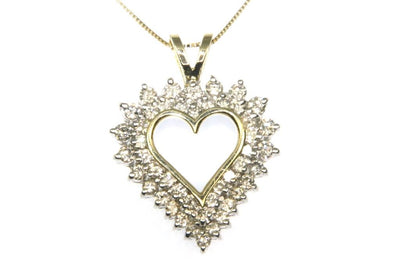 1.60ctw Double Diamond Heart Necklace