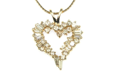 .65ctw Baguette Diamond Heart Necklace