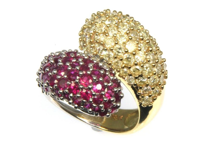 2.32ctw Yellow Diamond and Ruby Ring