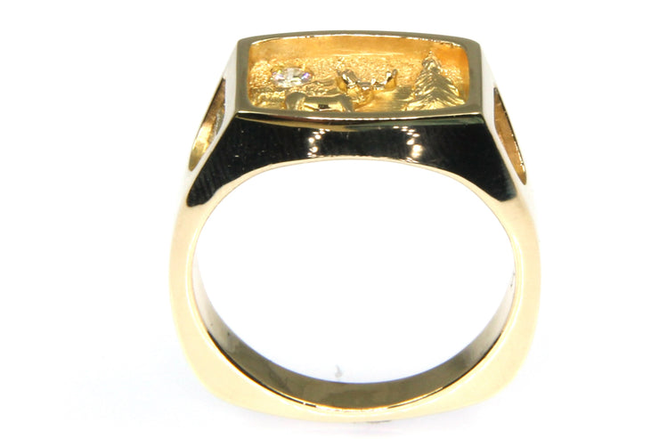 Elk and Nature Diamond Ring