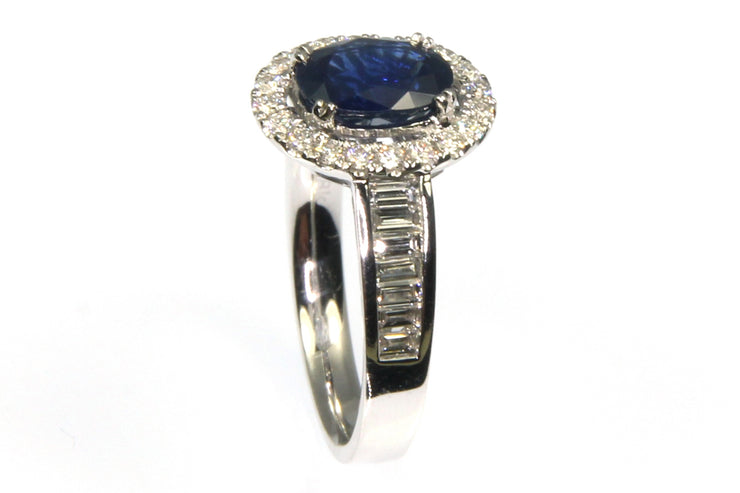 Blue Sapphire and 1.00ctw Diamond Halo Ring