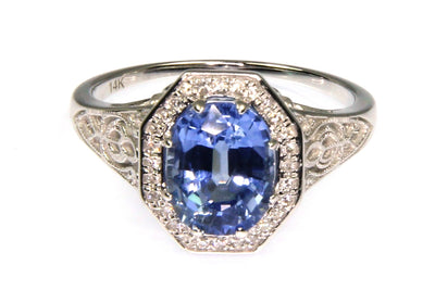 Light Blue Sapphire and Diamond Ring