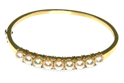 Akoya Pearl and Diamond Bangle Bracelet