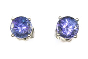Round Tanzanite Stud Earrings