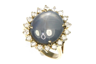 Black Star Sapphire with Diamond Halo Ring