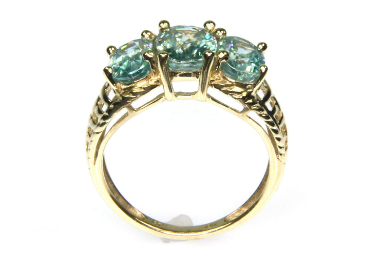 Aquamarine Three Gem Ring