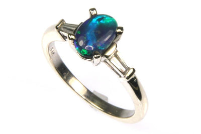 Black Lightening Ridge Opal and Diamond Ring
