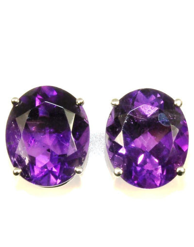 Oval Amethyst Stud Earrings, 6324