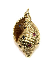 Ruby and Sapphire Sea Shell Pendant, 4823