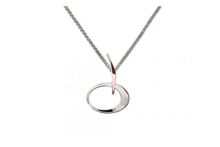 Petite Elliptical Necklace in Rose Gold and Silver