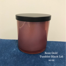 Load image into Gallery viewer, Rose Gold Tumbler with Black Lid - 10 oz