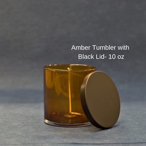 Amber Tumbler with Black Lid - 10 oz.