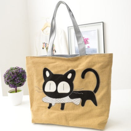 Cat Printing Canvas Shoulder Bag