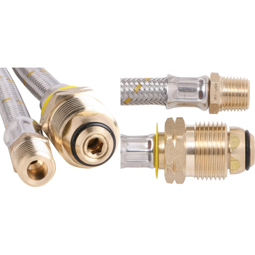 "Outdoor Connection S/Steel Pigtail - Class C 1/4""NTP x POL x 600mm - Outdoor Connection"