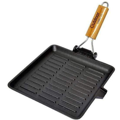 Outdoor Connection Cast Iron Square Grill Frypan