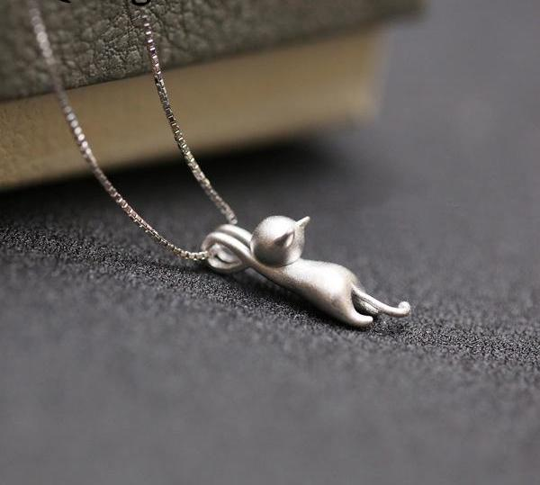 Beautiful sterling silver cat necklace pets range beautiful sterling silver cat necklace aloadofball Images