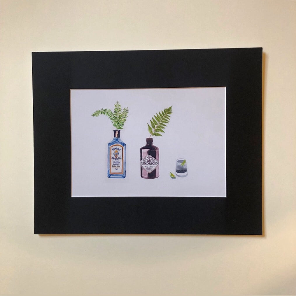 Lovely water coloured gin print