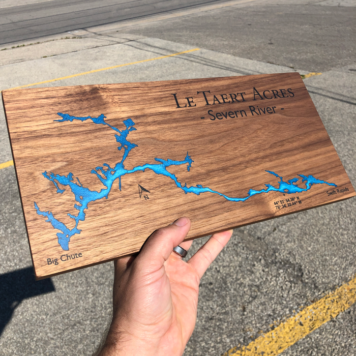 Custom, Jeff Mack Designs epoxy and wood sign featuring The Severn River between Big Chute and Swift Rapids..