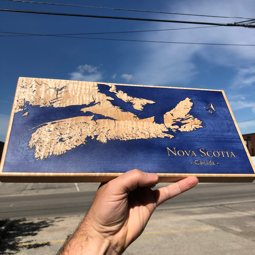 Custom, Jeff Mack Designs epoxy and wood sign featuring the Nova Scotia coastline.