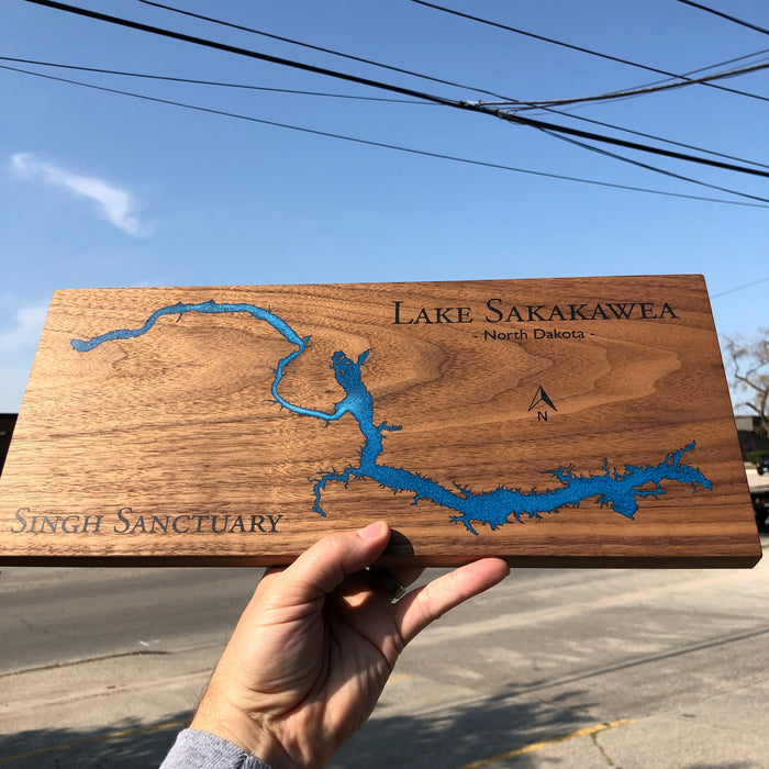 Custom, Jeff Mack Designs epoxy and wood sign featuring Lake Sakakawea in North Dakota..