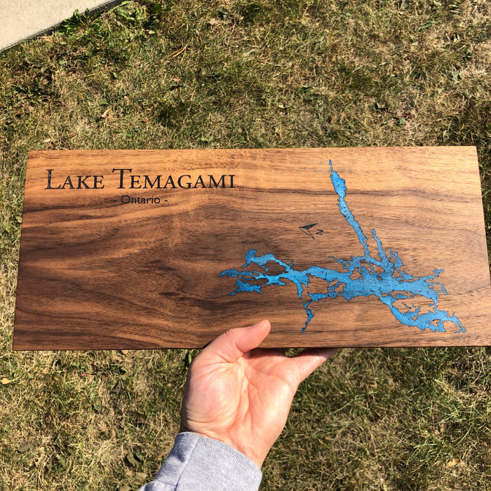 Custom, Jeff Mack Designs epoxy and wood sign featuring Lake Temagami in Ontario..