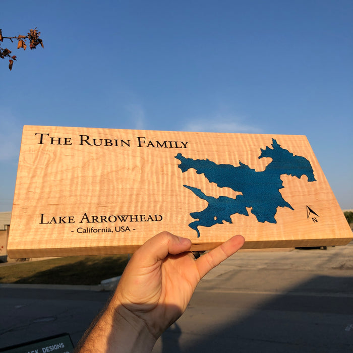 Custom, Jeff Mack Designs epoxy and wood sign featuring Lake Arrowhead in California..