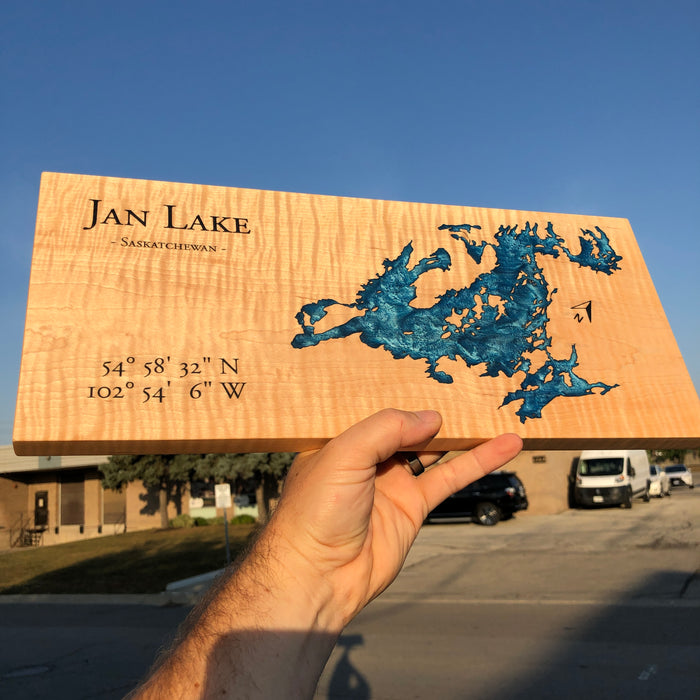 Custom, Jeff Mack Designs epoxy and wood sign featuring Jan Lake in Saskatchewan, Canada.