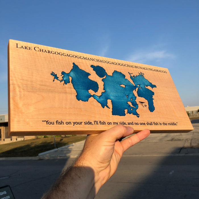 Custom, Jeff Mack Designs epoxy and wood sign featuring Lake Chargoggagoggmanchauggagoggchaubunagungamaugg in Massachusetts..