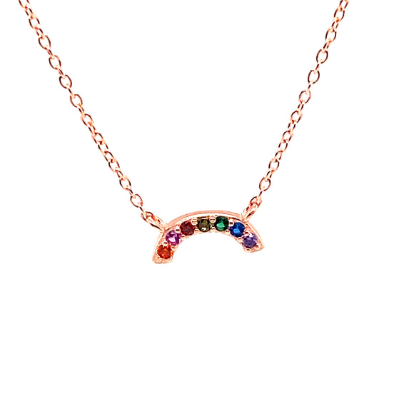 Rose Gold Plated Sterling Silver Rainbow Necklace