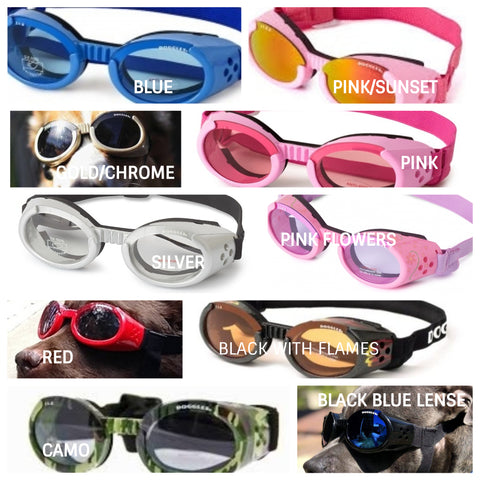"""Research has shown that long hours in the sun without adequate eye protection increase the chances of developing eye disease. Doggles UV-absorbent dog sunglasses can help protect your dog's eyes from sun damage.  Ideally dog sun glasses should block 99 to 100 percent of UVA and UVB radiation. Doggles' labels read """"UV absorption up to 400 nm,"""" which is the equivalent of 100 percent UV absorption."""