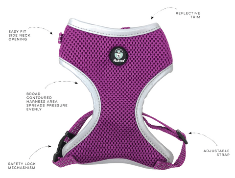 Huskimo Easy Fit Harness Broad contoured harness area spreads pressure evenly, Easy fit side neck opening, Reflective trim, Adjustable strap, Permeable Air Mesh technology that keeps your dog cool & ventilated.