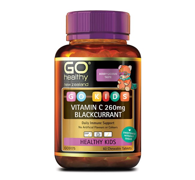 Go Healthy Kids Vitamin C 260mg Blackcurrant 60 Chew