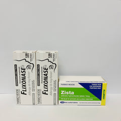2 x Flixonase Sprays + 90  Zista  tablets - 3 months supply with no plastic packaging